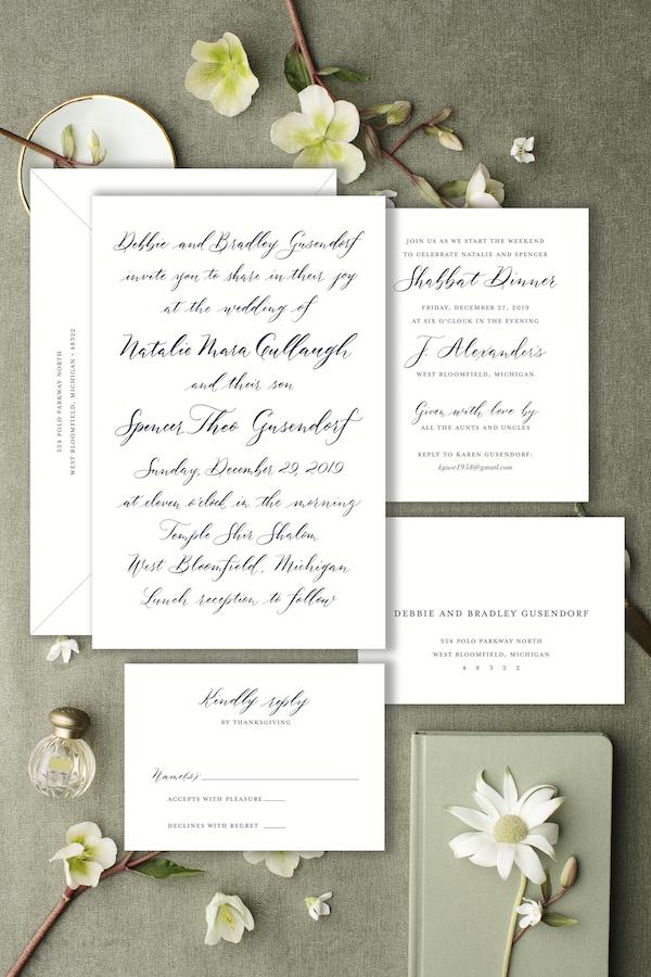all script modern calligraphy invitation - Leah E. Moss Designs
